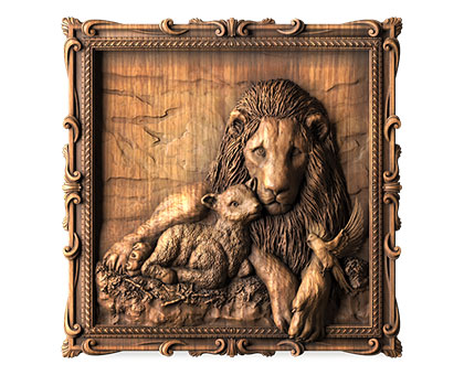 Panel lion with a lamb, 3d models (stl)