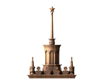 Spire sculpture with a star, 3d models (stl)