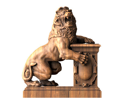 Sculpture with a lion, 3d models (stl)