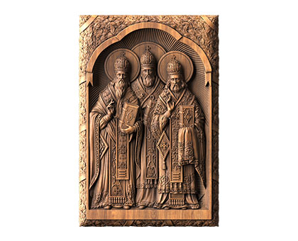 Icon Saints John Chrysostom, Gregory the Theologian, Basil the Great, 3d models (stl)