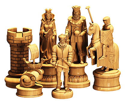Designer chess set, 3d models (stl)